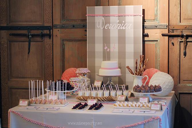 Nice Party- Mesa de dulces bautizo color rosa (6)